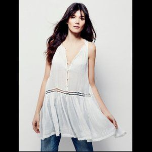 Free People FP One Mica White Slip BohoTunic Top S